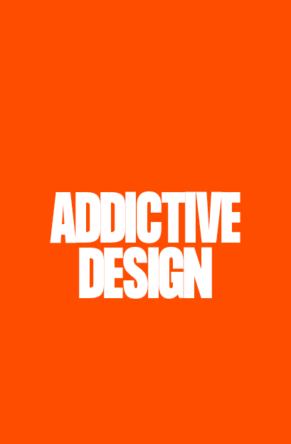 addictive design text on an orange background - opium addictive content