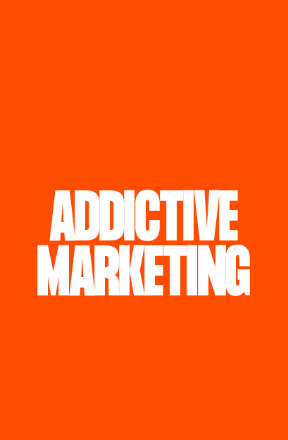 addictive marketing text on an orange background - opium addictive content