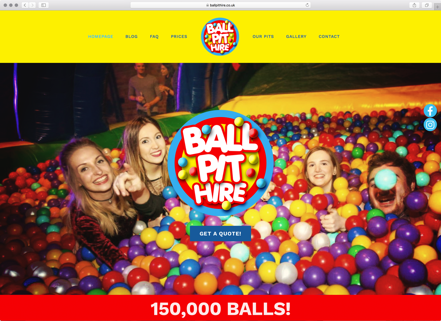 ballpit hire website screenshot created by opium addictive design